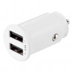 Deltaco billaddare med dubbla USB-A uttag, 12-24V, 12W, vit
