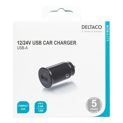 Deltaco billaddare med kompakt storlek och 1 USB‑A port, 12‑24V