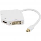 Deltaco mini DisplayPort till HDMI, VGA och DVI-D adapter, vit