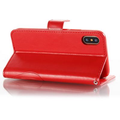Embossment läderfodral med vristband och stöd, iPhone X/XS, röd