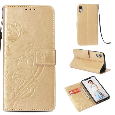 Embossment läderfodral med vristband till iPhone XR, guld