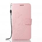 Embossment läderfodral med vristband till iPhone X/XS, rosa