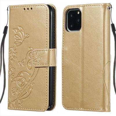 Embossment läderfodral med vristband/stöd, iPhone 11 Pro, guld