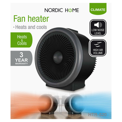 Nordic Home fläkt för värmning och kylning, 2000W, svart