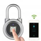 Smart hänglås med fingeravtryck, Bluetooth, grå
