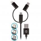 Forever 3-i-1 kabel, microUSB, Lightning, USB-C, 1m, svart
