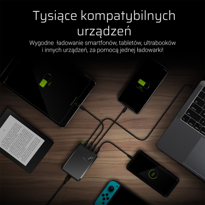 Green Cell Laddningsstation med 4 uttag, PD, Ultra Charge, 75W