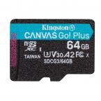 Kingston microSDXC, Canvas Go Plus, 64GB, svart