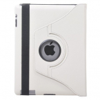 Läderfodral med roterbart ställ vit, iPad 2/3/4