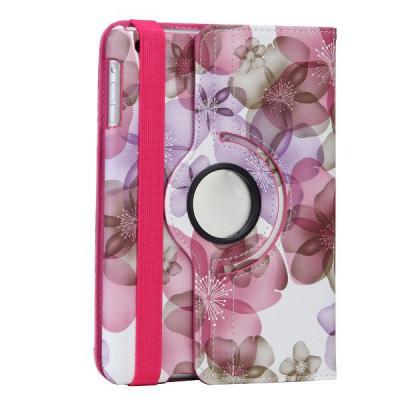 Blommigt läderfodral med roterbart ställ till iPad Mini/2/3