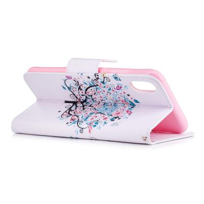 Läderfodral med ställ/kortplats, blommigt träd, iPhone XS Max