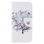 Läderfodral med ställ/kortplats, blommigt träd, iPhone X/XS