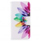 Läderfodral med ställ/kortplats, vacker blomma, iPhone X/XS