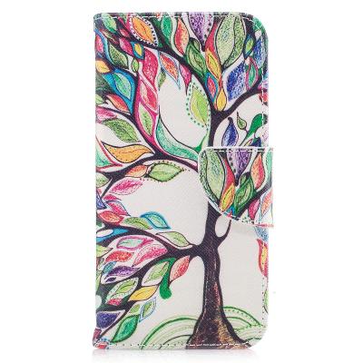 Läderfodral med ställ/kortplats, färgglatt träd, iPhone X/XS