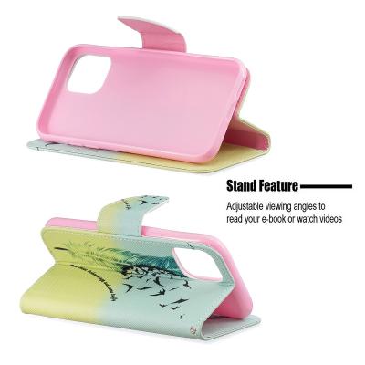 Läderfodral med ställ/kortplats, fjäder, iPhone 11 Pro