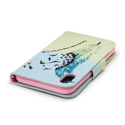 Läderfodral med ställ/kortplats, fjäder, iPhone XR