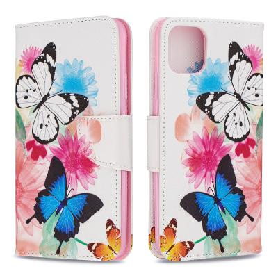 Läderfodral med ställ/kortplats, fjärilar, iPhone 11 Pro Max