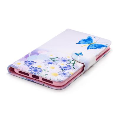 Läderfodral med ställ/kortplats, fjärilar, iPhone XS Max