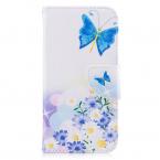 'Fjärilar' Läderfodral med ställ till iPhone X/XS, blå