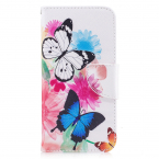 'Fjärilar' Läderfodral med ställ till iPhone X/XS, rosa
