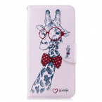 Läderfodral med ställ/kortplats, giraff, iPhone 11 Pro Max