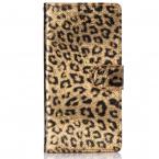 Leopard läderfodral med ställ/kortplats, iPhone 12/12 Pro, guld