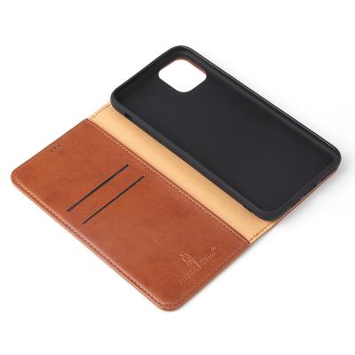 Läderfodral med ställ/kortplatser, iPhone 11 Pro Max, brun