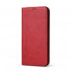 Läderfodral med ställ/kortplatser, iPhone XS Max, röd