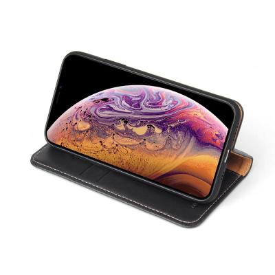 Läderfodral med ställ/kortplatser, iPhone XS Max, svart