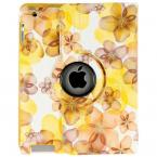Läderfodral med roterbart ställ till iPad 2/3/4, gul