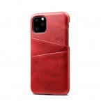 Läderskal med 2 kortplatser till iPhone 11 Pro Max, röd