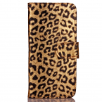 Läderfodral med kortplats till iPhone 6/6S Plus, guld/leopard