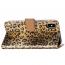 Läderfodral med kortplats leopard guld, iPhone XS Max