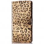 Läderfodral med kortplats leopard guld, Samsung Galaxy S9