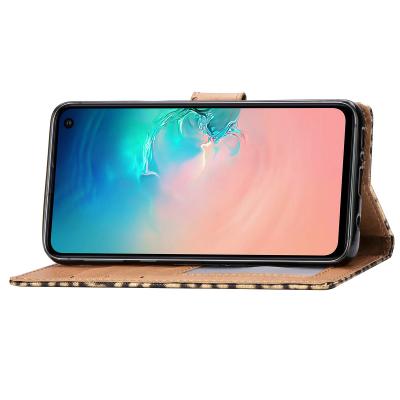Läderfodral med kortplats leopard guld, Samsung Galaxy S10E