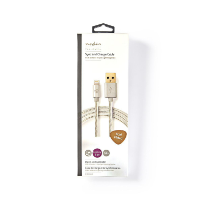 Lightningkabel USB‑A hane, 1m, 8‑pin, MFi‑certifierad
