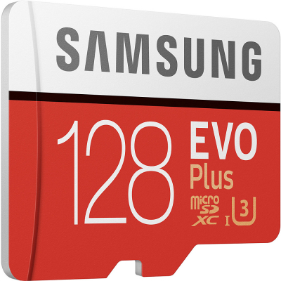 Samsung EVO Plus microSDXC 100MB/s med SD-adapter, 128GB