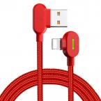 McDodo CA-4670 90° Lightning kabel med LED, 1.2m, röd