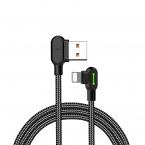 McDodo CA-4671 Vinklad Lightning kabel, LED, 2A, 1.2m, svart
