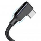 McDodo CA-7310 USB-C kabel med LED, QC 4.0, 1.8m, svart