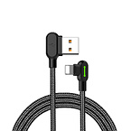 Mcdodo 90° Lightning kabel med LED, 0.5m, svart