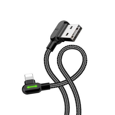 McDodo CA‑4673 Vinklad Lightning kabel, LED, 2A, 1.8m, svart
