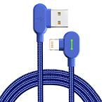 McDodo CA-4676 90° Lightning kabel med LED, 0.5m, blå