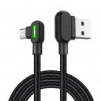 McDodo CA-5772 90° Micro-USB kabel med LED, 1.8m, svart