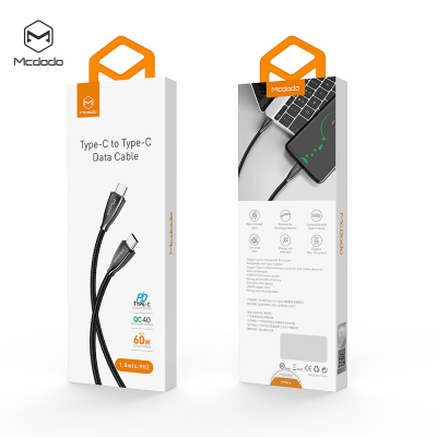 McDodo CA‑5890, USB‑C till USB‑C, Quickcharge, 1.5m, svart
