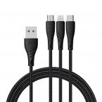 McDodo CA-6450 3-i-1 kabel, MicroUSB/USB-C/Lightning, 3A, 1.2m