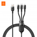 McDodo CA-879 3-i-1 kabel, MicroUSB/USB-C/Lightning, 5A, 1.2m