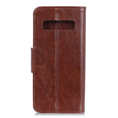 Plånboksfodral med ställ, Samsung Galaxy S10 Plus, brun