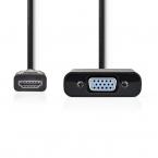 Nedis HDMI till VGA-kabel, 3.5 mm-utgång, 0.2m, svart