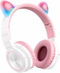 Picun Lucky Cat Trådlösa barnhörlurar med LED-öron, rosa